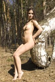 small-tit brunette demonstrates her