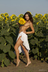 Insanely spicy babe is getting naked between the sunflowers