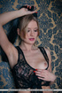 Blonde in lace top stuffs her asshole with a tail…