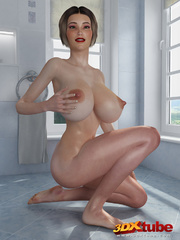 Chick with massive tits is naked on the bathroom - Picture 4