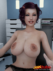 Hot chick with big tits gets naked in her office. - Picture 1