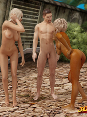 Horny babes have a hot threesome with a guy outdoors. - Picture 1