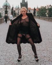 banging blonde black coat