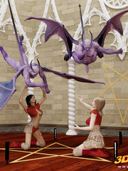 Blonde and brunette summon two purple demons to be - Picture 2
