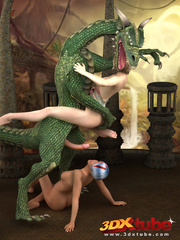 Two busty girls tame dragon, gets into a hot - Picture 8