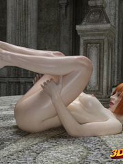 Redhead oils self and fondles pussy and clit on the - Picture 5
