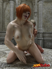 Alien bombshell and ogre girl have sex on the floor. - Picture 9
