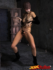 Edgy girl dons spider web bikini while posing - Picture 2