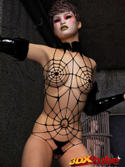 Edgy girl dons spider web bikini while posing - Picture 3
