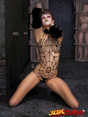Edgy girl dons spider web bikini while posing - Picture 7