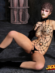 Edgy girl dons spider web bikini while posing - Picture 9