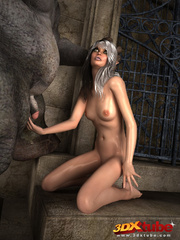 White-haired babe gets her pussy wrecked by ogre's - Picture 2