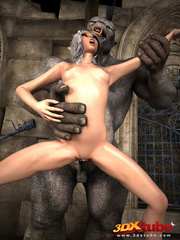 White-haired babe gets her pussy wrecked by ogre's - Picture 7