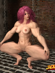 Naked pink haired girl spreads legs on the floor to - Picture 1