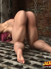 Naked pink haired girl spreads legs on the floor to - Picture 2