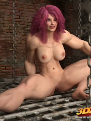 Naked pink haired girl spreads legs on the floor to - Picture 3