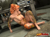 Tattooed redhead is naked on the floor to showcase horny pussy.