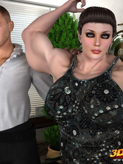Big, muscular girl gets fucked by a smaller dude on - Picture 1