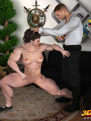 Big, muscular girl gets fucked by a smaller dude on - Picture 2