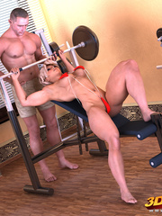 Blonde babe lifts weights as her trainer fists her - Picture 1