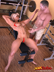 Blonde babe lifts weights as her trainer fists her - Picture 3