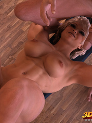 Blonde babe lifts weights as her trainer fists her - Picture 8