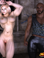 Muscular blonde babe sucks and rides a big black - Picture 1
