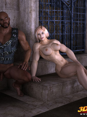 Muscular blonde babe sucks and rides a big black - Picture 2