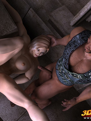 Muscular blonde babe sucks and rides a big black - Picture 7