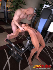 Blonde lady pauses exercising to suck and fuck her - Picture 3