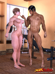 Muscly brunette rides her exotic trainer's huge dick - Picture 1