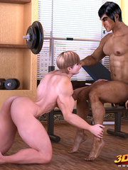 Muscly brunette rides her exotic trainer's huge dick - Picture 2