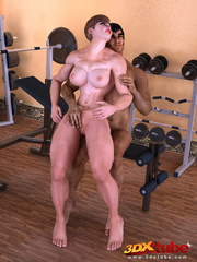 Muscly brunette rides her exotic trainer's huge dick - Picture 3