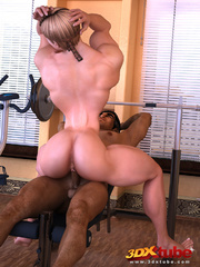 Muscly brunette rides her exotic trainer's huge dick - Picture 4