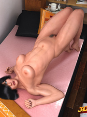 Black-haired babe is naked and sensually poses in her - Picture 8