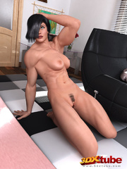Black-haired babe is naked and sensually poses in her - Picture 9