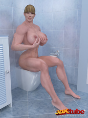 Two big muscular girls get in bathroom and fingers - Picture 1