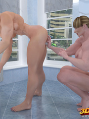 Two big muscular girls get in bathroom and fingers - Picture 3