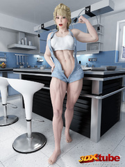 Muscular babe strips naked on her kitchen top to - Picture 1
