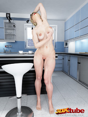 Muscular babe strips naked on her kitchen top to - Picture 9
