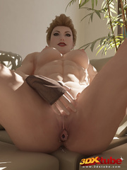 Edgy blonde babe strips and fondles pussy on couch in - Picture 7