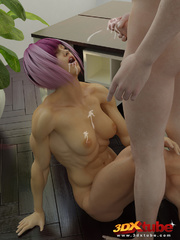 Purple-haired babe gets pussy fingered and fucked in - Picture 9