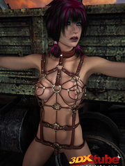 Sexy slave babe in leather and chains worships her - Picture 3