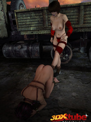 Sexy slave babe in leather and chains worships her - Picture 7