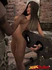 Black babe is bound to torture stake and fucked by - Picture 6