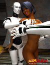 White male robots manhandle a sexy, slim ebony sex kitten.