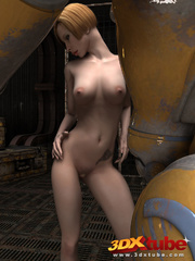 Blonde girl's pussy is pleasured by a huge robot on - Picture 2