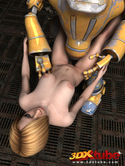 Blonde girl's pussy is pleasured by a huge robot on - Picture 4