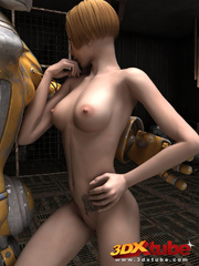 Blonde girl's pussy is pleasured by a huge robot on - Picture 6
