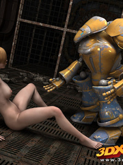 Blonde girl's pussy is pleasured by a huge robot on - Picture 7